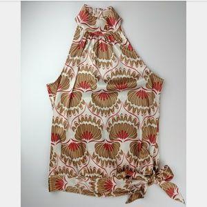 Michael Kors Sleeveless Floral Side Tie Top